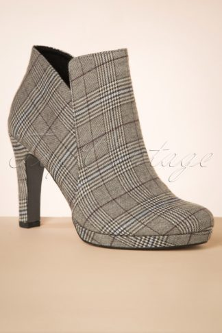 50s Tartan Ankle Booties in Taupe