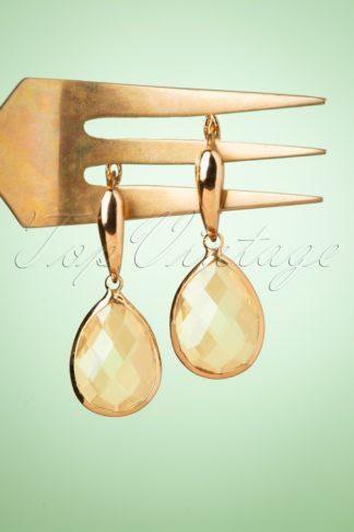 50s Teardrop Earrings in Peach
