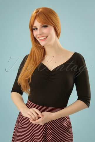 50s Terri Top in Black