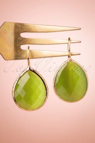 50s The Big Drop Earrings in May Green
