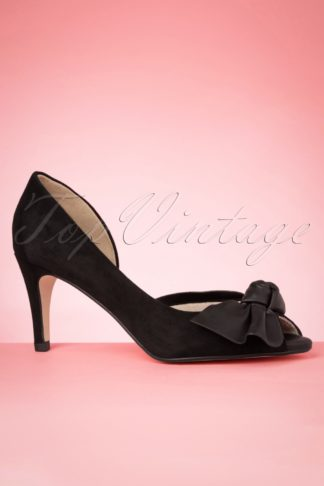 50s The Perfect Bow Peeptoe Pumps in Black