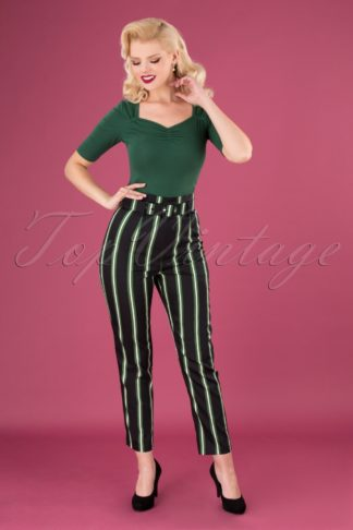 50s Thea Witch Stripes Trousers in Black
