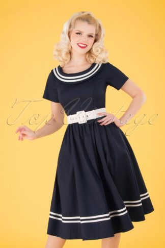 50s Tina Nautical Swing Dress in Navy and White
