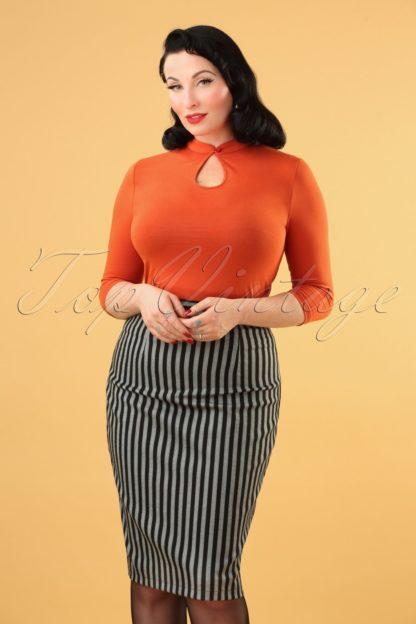50s Tisha Stripes Pencil Skirt in Grey and Black