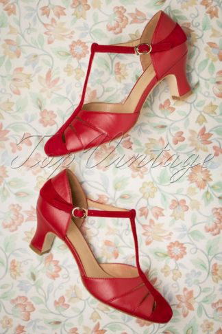 50s Toscana T-Strap Pumps in Red