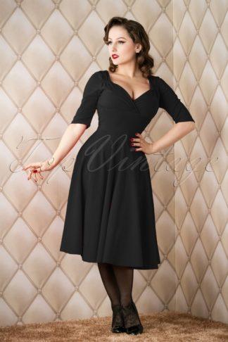 50s Trixie Doll Swing Dress in Black