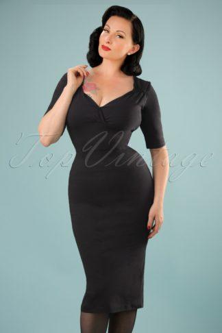 50s Trixie Pencil Dress in Black