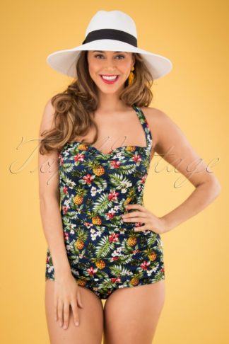 50s Tropical Flowers Frock One Piece Swimsuit in Blue