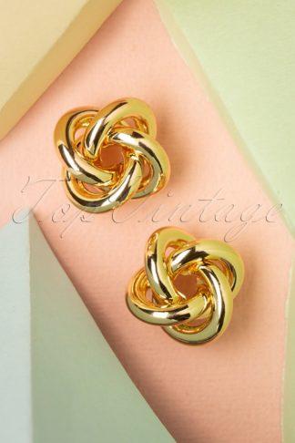 50s Twisted Stud Earrings in Gold