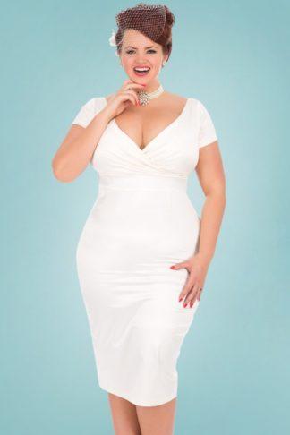 50s Ursula Satin Wedding Pencil Dress in Ivory