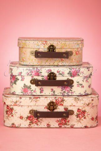 50s Vintage Rose Suitcase Set