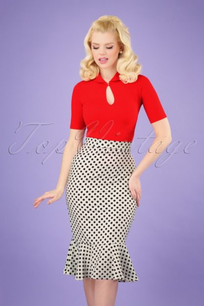 50s Viola Volant Pencil Skirt in White Polka