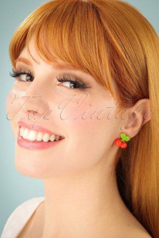 50s Vitamin Cherry Stud Earrings in Red