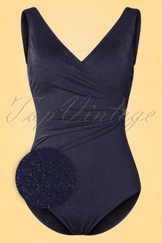 50s Vivienne Golden Shimmer Swimsuit in Midnight Blue