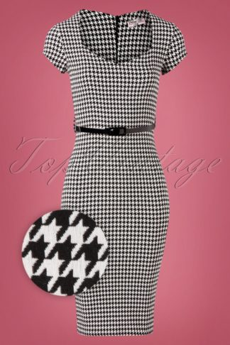 50s Wanda Houndstooth Pencil Dress in Black and White