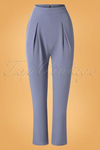 50s Wear Me Everywhere Trousers in Dusty Blue