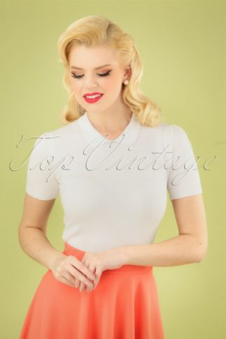 50s Wendy Knitted Top in Ivory