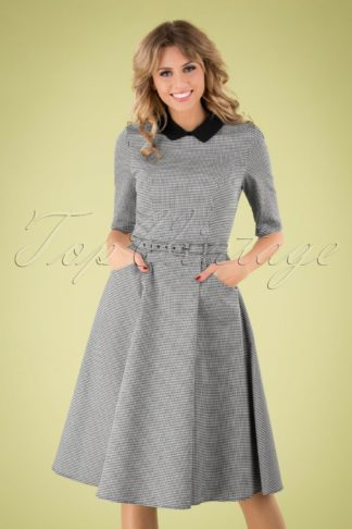 50s Winona Houndstooth Swing Dress in Black and White