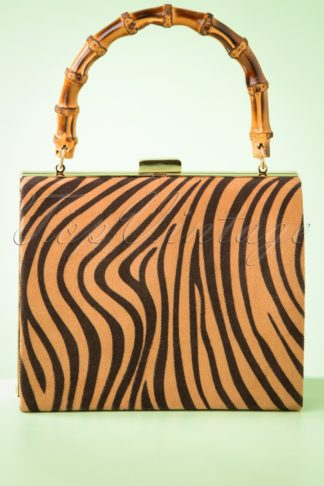 50s Zebra Box Bag in Beige and Black