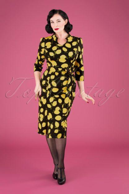 50s Zesty Lemon Wiggle Dress in Black