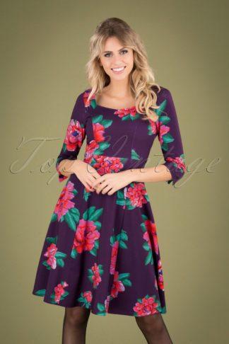 60s Annecy Roses Swing Dress in Purple