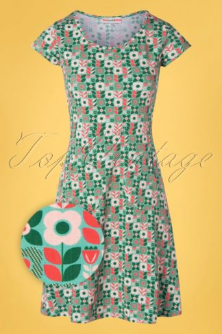60s Asta Vindsnurra Dress in Green and Cream