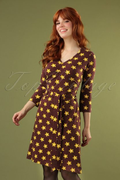 60s Attitude Dance Swing Dress in Brown and Yellow