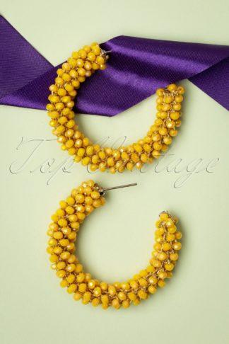 60s Beaded Hoop Earrings in Sunshine Yellow