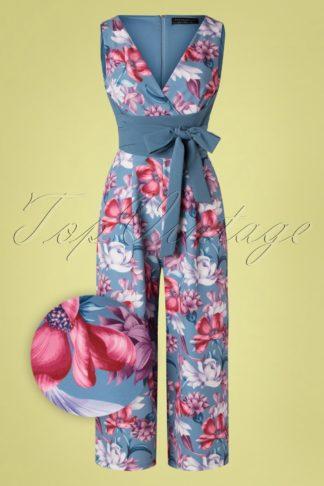 60s Beaufort Floral Culotte Jumpsuit in Lavender Blue