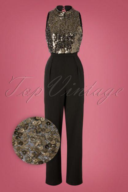 60s Blaire Sequin Jumpsuit in Black
