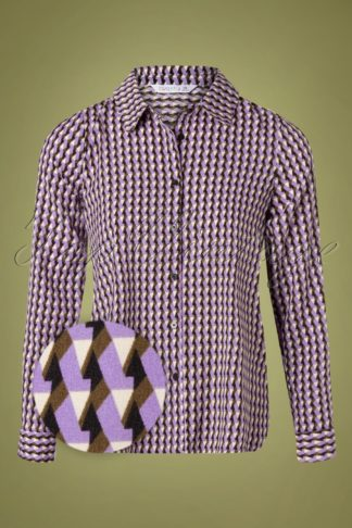60s Camisa Retro Blouse in Purple