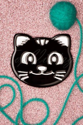 60s Cat Face Brooch in Black