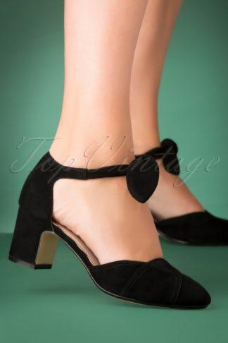 60s Clarice Suede Block Heel Pumps in Black