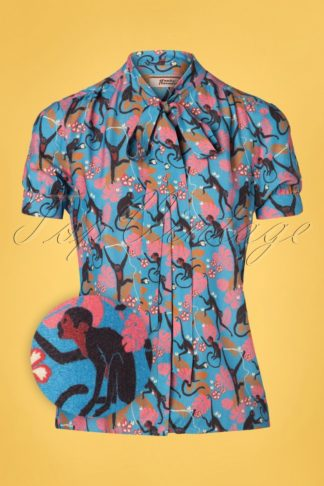 60s Don't Turn Your Back On Me Blouse in Blue