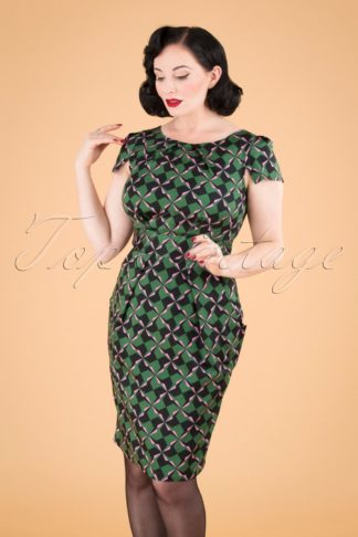 60s Feya Geometric Tulip Dress in Forest Green