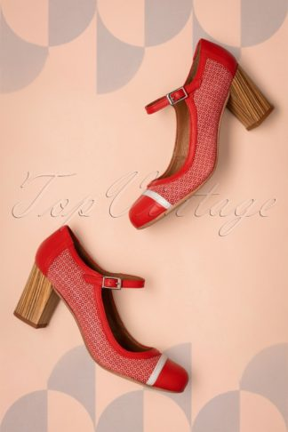 60s Frida Leather Mary Jane Pumps in Red