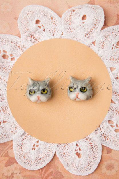 60s Funny Cat Stud Earrings in Grey