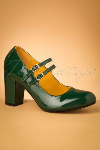 60s Golden Years Lacquer Pumps in Bottle Green