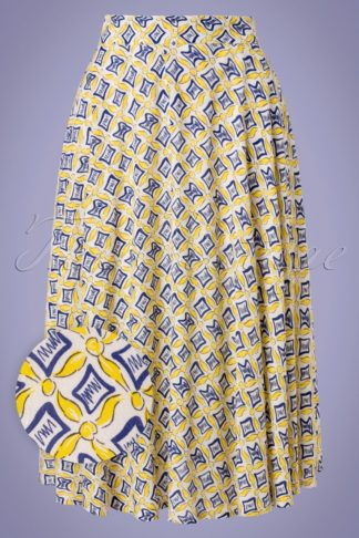 60s Hilda Tails Swing Skirt in Yellow and Blue