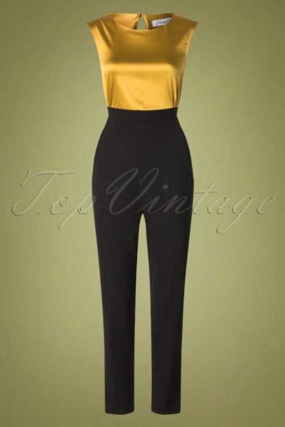 60s Isidora Jumpsuit in Black and Gold