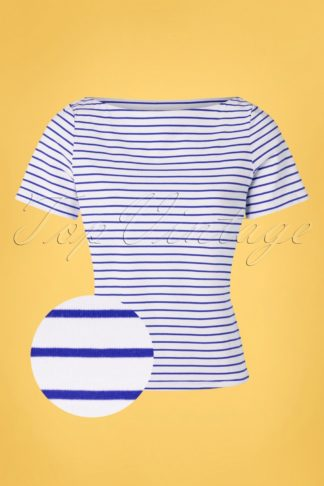 60s Italy Sail Striped Top in Blue and White