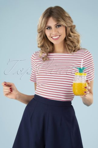60s Italy Sail Striped Top in Red and White