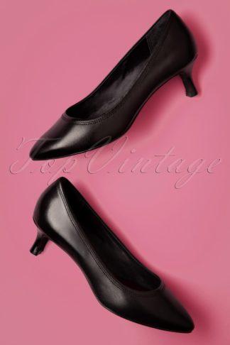 60s Kaiya Leather Kitten Heel Pumps in Black