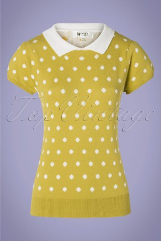 60s Kristen Polkadot Sweater in Moss Yellow and White