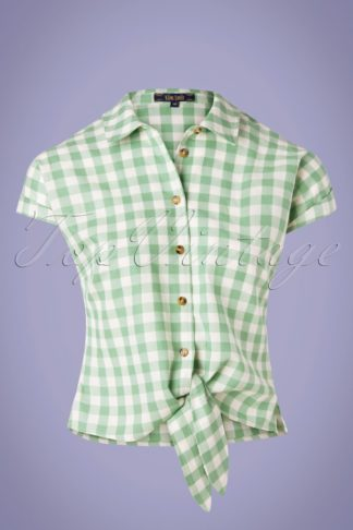 60s Legend Knot Blouse in Island Green