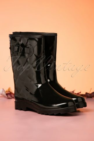 60s Lesley Quilted Rain Boots in Black