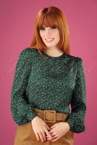 60s Lima Speckle Print Blouse in Green