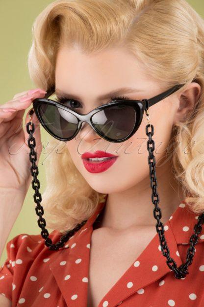 60s Link Chain Sunglasses Cord in Black