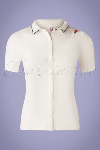 60s Logo Jersey Blousette in Simply White