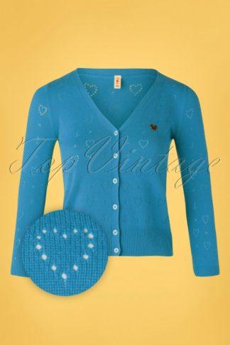 60s Logo Short Cardigan in Blue Heart Anchor